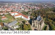 Aerial view of St.Barbara Church in Kutna Hora, Czech Republic. Стоковое видео, видеограф Яков Филимонов / Фотобанк Лори