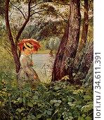 Thoma Hans - IM Sonnenschein - German School - 19th Century. Редакционное фото, фотограф Artepics / age Fotostock / Фотобанк Лори