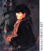 Trubner Wilhelm - Lady in Front of a Tapestry - German School - 19th... Редакционное фото, фотограф Artepics / age Fotostock / Фотобанк Лори