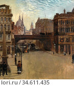Trubner Wilhelm - Ludgate Hill London 2 - German School - 19th Century... Редакционное фото, фотограф Artepics / age Fotostock / Фотобанк Лори