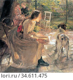 Uhde Fritz Von - in the Garden - German School - 19th Century. Редакционное фото, фотограф Artepics / age Fotostock / Фотобанк Лори