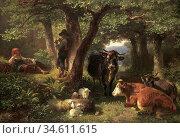 Voltz Friedrich - Hirtenkinder IM Wald Mit Kühen Und Schafen - German... Редакционное фото, фотограф Artepics / age Fotostock / Фотобанк Лори