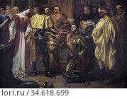 Rodrigo Diaz El Cid is knighted by the King Ferdinand I of Leon by... Стоковое фото, фотограф Juan García Aunión / age Fotostock / Фотобанк Лори