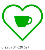 Tasse und Herz - Cup and heart. Стоковое фото, фотограф Zoonar.com/Robert Biedermann / easy Fotostock / Фотобанк Лори