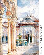Apperley George Owen Wynne - El Patio De Los Leones 2 - British School... Стоковое фото, фотограф Artepics / age Fotostock / Фотобанк Лори