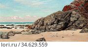 Brett John - St. Agnes Cornwall - British School - 19th Century. Стоковое фото, фотограф Artepics / age Fotostock / Фотобанк Лори