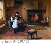 Brooker Harry - Christmas Eve - British School - 19th Century. Стоковое фото, фотограф Artepics / age Fotostock / Фотобанк Лори