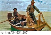 Brown John George - Casting the Net - British School - 19th Century. Стоковое фото, фотограф Artepics / age Fotostock / Фотобанк Лори