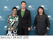 The director Ann Hui, Danny Liu ( producer ), Mary Stephen ( film... Редакционное фото, фотограф Maria Laura Antonelli / AGF/Maria Laura Antonelli / age Fotostock / Фотобанк Лори