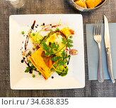 Tarte with vegetables and buffalo mozzarella. Стоковое фото, фотограф Яков Филимонов / Фотобанк Лори