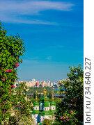 Panorama of the city of Kiev. Ukraine. View of the monastery Vydubitsky... Стоковое фото, фотограф Zoonar.com/Figurniy Sergey / age Fotostock / Фотобанк Лори