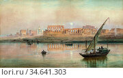 Dillon Frank - a View of Luxor on the Nile with Karnak - British ... Стоковое фото, фотограф Artepics / age Fotostock / Фотобанк Лори