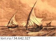 Ellis Tristram James - Seascape 1 - British School - 19th Century. Стоковое фото, фотограф Artepics / age Fotostock / Фотобанк Лори