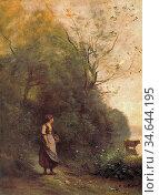 Corot Jean Baptiste Camille - Campesina Con Una Vaca Pastando Al ... Стоковое фото, фотограф Artepics / age Fotostock / Фотобанк Лори