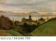 Corot Jean Baptiste Camille - Between Lake Geneva and the Alps - ... Стоковое фото, фотограф Artepics / age Fotostock / Фотобанк Лори