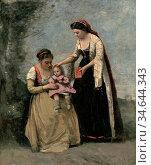 Corot Jean Baptiste Camille - Deux Femmes Jouant Avec Un Enfant - ... Стоковое фото, фотограф Artepics / age Fotostock / Фотобанк Лори