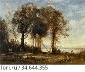 Corot Jean Baptiste Camille - Die Ziegenhirten Der Insel Borromées... Стоковое фото, фотограф Artepics / age Fotostock / Фотобанк Лори