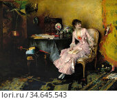 Dagnan-Bouveret Pascal Adolphe Jean - Jeune Femme En Rose Avec Son... Стоковое фото, фотограф Artepics / age Fotostock / Фотобанк Лори