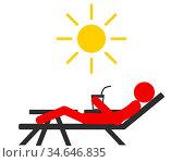 Mensch mit Sonnenbrand auf Liege - Sunburn people on sun lounger without... Стоковое фото, фотограф Zoonar.com/lantapix / easy Fotostock / Фотобанк Лори