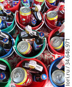 Party drinks buckets for sale with Thai whisky cola and Red Bull ... Стоковое фото, фотограф Andrew Woodley / age Fotostock / Фотобанк Лори