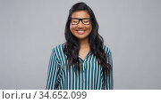 happy asian woman in glasses or student. Стоковое видео, видеограф Syda Productions / Фотобанк Лори