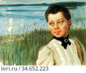 Gallen-Kallela Akseli - Mary Gallén on the Lakeshore at Lintula - ... Редакционное фото, фотограф Artepics / age Fotostock / Фотобанк Лори
