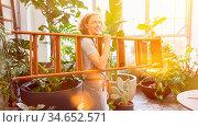 Junger Mann beim Leiter tragen als Floristik Azubi im Blumenladen. Стоковое фото, фотограф Zoonar.com/Robert Kneschke / age Fotostock / Фотобанк Лори