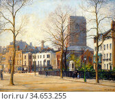 Fox William Edward - Chelsea Old Church and Lombard Terrace - British... Стоковое фото, фотограф Artepics / age Fotostock / Фотобанк Лори
