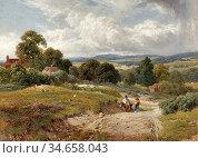 Palmer Harry Sutton - Extensive Country Landscape with Figures and... Редакционное фото, фотограф Artepics / age Fotostock / Фотобанк Лори