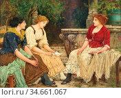 Rhys Oliver - Drie Vrouwen in Het Park - British School - 19th Century... (2020 год). Редакционное фото, фотограф Artepics / age Fotostock / Фотобанк Лори