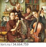 Rooke Thomas Matthews - Musicians - British School - 19th Century. Редакционное фото, фотограф Artepics / age Fotostock / Фотобанк Лори