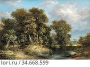 Stark James - a Wooded River Landscape Norfolk - British School - ... Редакционное фото, фотограф Artepics / age Fotostock / Фотобанк Лори