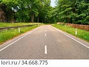 Leere zweispurige Straße führt durch eine grüne Landschaft im Sommer. Стоковое фото, фотограф Zoonar.com/Robert Kneschke / age Fotostock / Фотобанк Лори