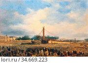 Dubois François - Erection of the Luxor Obelisk on the Place De La... Редакционное фото, фотограф Artepics / age Fotostock / Фотобанк Лори
