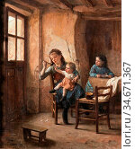 Duverger Theophile Emmanuel - Interior with Children (C'est Trop ... Редакционное фото, фотограф Artepics / age Fotostock / Фотобанк Лори
