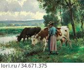 Dupré Julien - Les Vaches a L 'abreuvoir - French School - 19th Century... Редакционное фото, фотограф Artepics / age Fotostock / Фотобанк Лори