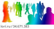 Unterschiedliche Silhouetten von Menschen in Bewegung vor weißem Hintergrund... Стоковое фото, фотограф Zoonar.com/wolfgang rieger / easy Fotostock / Фотобанк Лори