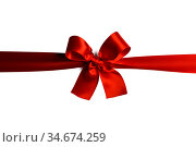 Red gift bow on white. Стоковое фото, фотограф Иван Михайлов / Фотобанк Лори