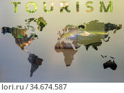 world map on a glass door. Geography concept. Background for travel. All continent. Europe, America, Africa, Australia and Asia. Стоковое фото, фотограф Константин Лабунский / Фотобанк Лори