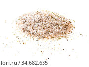Pile of seasoned salt with spices and dried herbs on white background. Стоковое фото, фотограф Zoonar.com/Valery Voennyy / easy Fotostock / Фотобанк Лори