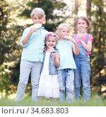 Group of happy children eating lollipops outdoors in summer park. Стоковое фото, фотограф Zoonar.com/Tatiana Badaeva / easy Fotostock / Фотобанк Лори