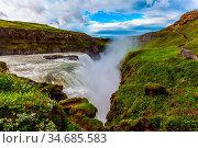 Iceland. Gullfoss - Golden Waterfal on the Hvitau River. Water foam... Стоковое фото, фотограф Zoonar.com/kavram / easy Fotostock / Фотобанк Лори