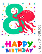 Cartoon Illustration of the Eighth Birthday Anniversary Greeting Card... Стоковое фото, фотограф Zoonar.com/Igor Zakowski / easy Fotostock / Фотобанк Лори