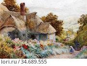 Strachan Artur Claude - Cottage at Selworthy near Minehead - British... Стоковое фото, фотограф Artepics / age Fotostock / Фотобанк Лори