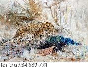 Swan Cuthbert Edmund - Leopard and Peacock - British School - 19th... Стоковое фото, фотограф Artepics / age Fotostock / Фотобанк Лори