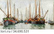 Tuke Henry Scott - Gaily Coloured Fishing Vessels at Anchor - British... Стоковое фото, фотограф Artepics / age Fotostock / Фотобанк Лори