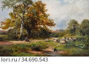 Turner George - a Scene near Ticknall Derbyshire - British School... Стоковое фото, фотограф Artepics / age Fotostock / Фотобанк Лори