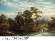 Turner George - Crossing the Brook - British School - 19th Century. Стоковое фото, фотограф Artepics / age Fotostock / Фотобанк Лори
