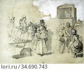 Walker Frederick - Punch and Judy - British School - 19th Century. Стоковое фото, фотограф Artepics / age Fotostock / Фотобанк Лори