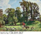 Watson George Spencer - Mary in the Gardens Dunshay (Drat Them Goats... Стоковое фото, фотограф Artepics / age Fotostock / Фотобанк Лори